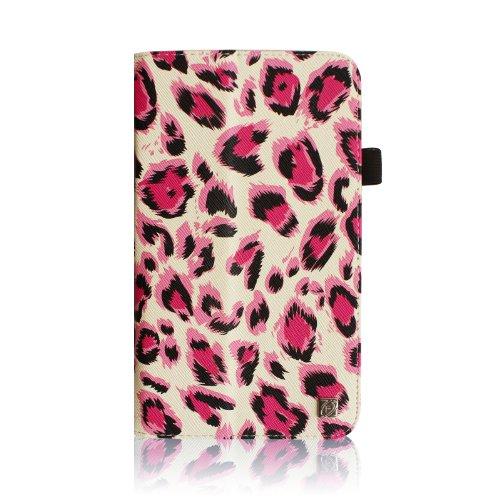 Fintie Samsung Galaxy Tab 3 7.0 (7 Zoll) SM-T210 SM-T211 Hülle Case - Slim Fit Folio Bookstyle Kunstleder Schutzhülle Cover Tasche mit Ständerfunktion und Stylus-Halterung, Leopard Pink