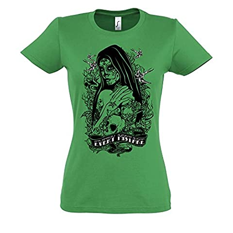 Every Mistake Birds Good Looking Girl Design Skulls On Background Tattoo Theme Awesome Women Femme Green T-shirt