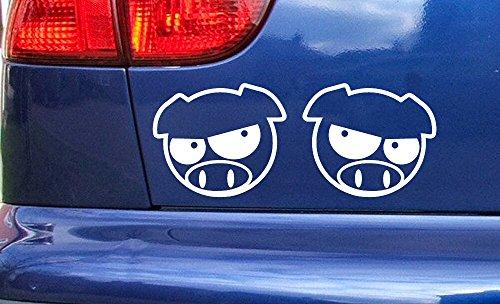 Pro Cut Vinyl JDM Manga Angry Pigs Blanc 50mm x 42mm Voiture fenêtre Vinyle Autocollants décalque Petit Grand Tailles Stickers