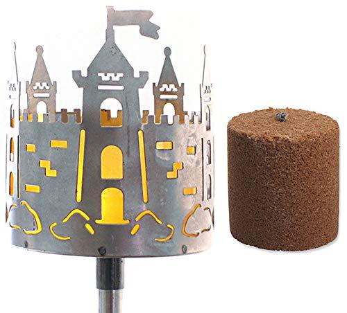 Novaliv Gartenfackel Burg Feuerschale Metall mit Stiel 1xBrennmittel Gartenleuchte Fackel Laterne Sturmlaterne