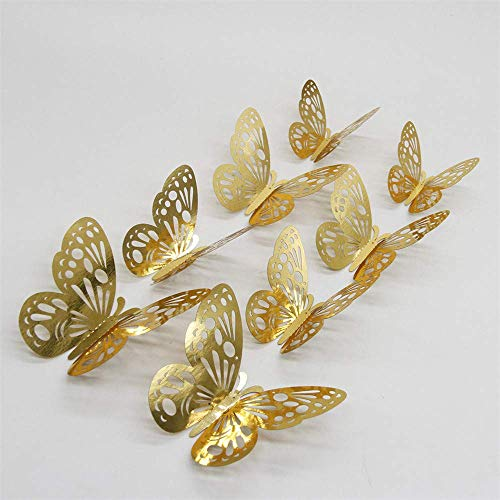 Bobopai 12Pcs Art 3D DIY Wall Stickers Butterfly Silver Mirror Home Room Wall Decoration (Gold) -