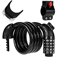 Zacro Candado de Bicicleta Seguridad Cable de Bloqueo de 5 Dígitos Restable Combinación para la Bicicleta al Aire Libre con 1 Luz LED de Bicicleta Gratis (Negro)