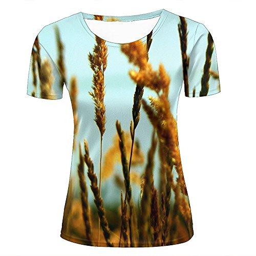 3d Print T Shirts Broad Rice Fields Graphics Men Women Couple Fashion Tees C