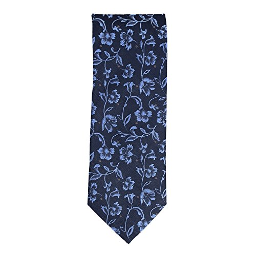 Silk Ties Krawatte Klassisch Seide Navy Blau Floral 8,5 cm Pure Silk Floral Tie