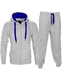 SCO Survêtement à capuche zippé en polaire brossée pour homme avec cordon Couleurs contrastées