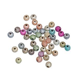 50 Stück 4mm Glitzerperlen rund zufällig gemischt Loch:ca 1.3mm Kette diy