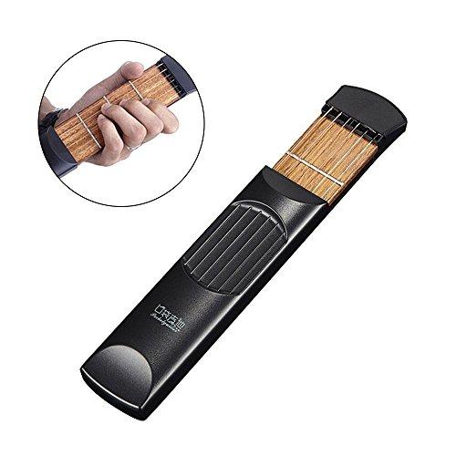 Aolvo Pocket Gitarre, 6Fret Saiten Finger, Schuppen und Akkorde in Tool Gadget für Anfänger Fingering Trainer mit Tasche (Schuppen-lösungen)