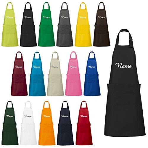 Schnoschi Küchenschürze mit Wunschnamen Bestickt – viele Farben