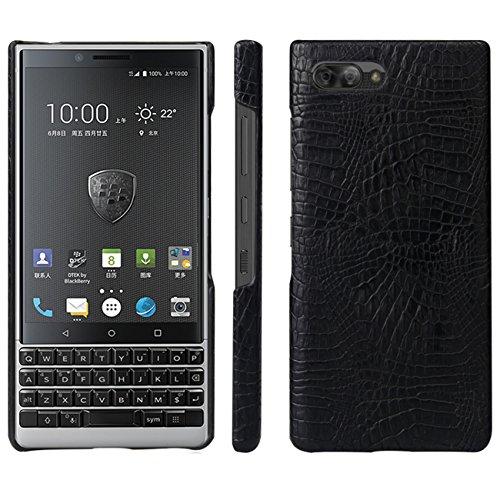 HualuBro BlackBerry KEY2 Hülle, Ultra Slim Premium Crocodile PU Leder Leather HandyHülle Tasche Schutzhülle Case Cover für BlackBerry Key 2 Smartphone (Schwarz)