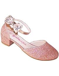 Zapatos de fiesta de tacón bajo con brillo brillante para niñas