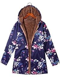 Mitlfuny Bekleidung&Accessoires,Womens Winter Warm Outwear Blumendruck Mit Kapuze Taschen Vintage Oversize Mäntel