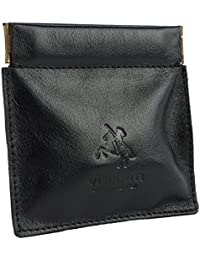 Mens Snap Top LEATHER Coin Purse by Visconti Classic 2 Colours Black Dark Brown
