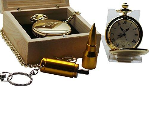 USB James Bond Collection 007Taschenuhr und Golden Bullet Memory Stick Schlüsselanhänger Schlüsselanhänger Geschenk-Set in Holzbox -