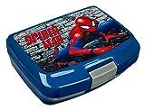 Scooli SPLO9900 - Brotzeitdose aus Kunststoff mit Clip, leicht zu öffnen und zu schließen, BPA und Phthalat frei, Marvel Spider-Man, ca. 13 x 17 x 6 cm