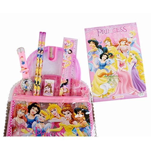 VITREND Princess School Stationery Gift Set including watch, pencils, sharpener, Eraser, scale with handy Bag For Boys And Girls