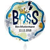 Premioloon | Luftballon mit Name und Datum - Mini Boss - Geschenk zur Geburt mit Personalisierung - Helium geeignet - Ø 71cm | + Das Ballonbuch