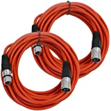 Seismic Audio Pair Of Red 25' XLR Male To Female Microphone Patch Cables (2 Pk) Red - SAXLX-25Red-2Pack