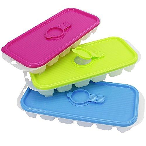 COM-FOUR® 3er Set Eiswürfelbereiter in tollen Farben mit praktischer Einlassöffnung im Deckel