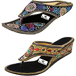 Thari Choice Women's Combo Of 2 Fashion Sandals- (Ind/Uk-6 Or Eu-39)
