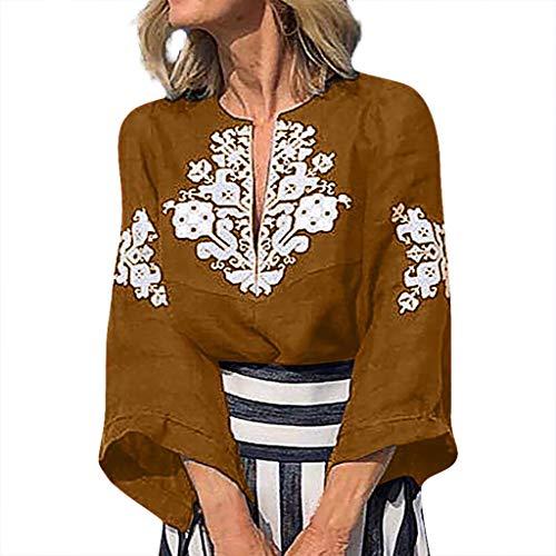 Yvelands Damen Weisefrauen-Blusen-T-Shirt V-Ansatz Plus Größen-Druckmittelhülse einfache Oberseiten-Bluse(Khaki,L)
