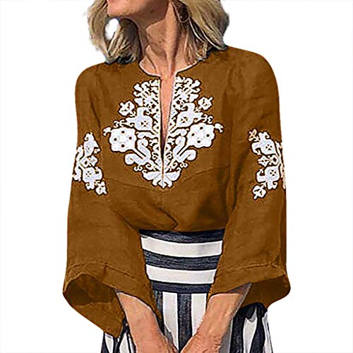 frauen-Blusen-T-Shirt V-Ansatz Plus Größen-Druckmittelhülse einfache Oberseiten-Bluse(Khaki,L) ()
