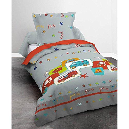Preisvergleich Produktbild Today Bettwäsche Happy Pinpon 100% Baumwolle–1Bettbezug 140x 200cm + 1Kissenbezug 63x 63cm grau, rot und blau