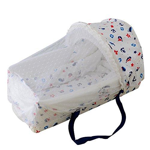 LINAG Baby Reisebett Krippe Portable Faltbare Travel Bed Bassinet Babybett Tragbares Multifunktionale Wiege Bequem Schlafkorb,White