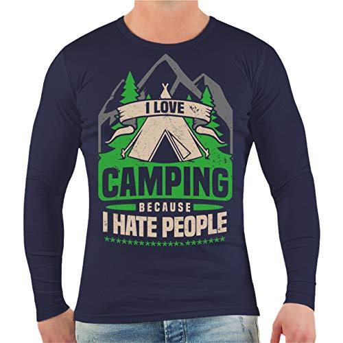 Spaß kostet Männer und Herren Langarmshirt Camper Camping I Hate People Größe S - XXL