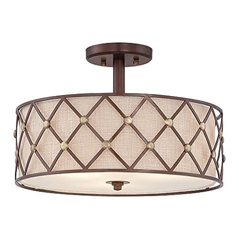 QZ/BROWNLATT/SF Brown Lattice 3 Light Copper Semi Flush Ceiling Light