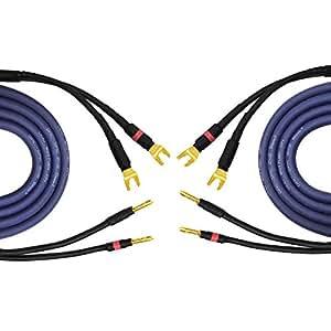 4M Coppia di Gotham gac-spk 2x 2,5mm², 13AWG (2,5mm²) altoparlante coassiale cavi vanga terminato con connettori a banana (2cavi, 4m ciascuno)