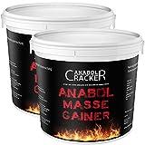 2X Anabol Masse Gainer, Whey Protein Shake, 4000g gesamt, 100% Hardgainer, Eiweißpulver Aminosäuren (4000g Schoko-Karamell + Vanille)