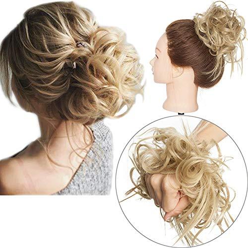 Extension Chignon Elastico Spettinato con Capelli Ricci Finti XXL Hair Magic Bun 45g Messy Curly Coda di Cavallo Treccia Carina - Biondo Cenere