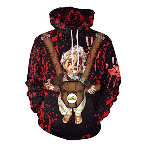 MIRRAY Damen Halloween Blut Handdruck Kürbise 3D die Lange Hülsen Pullover Blusen mit Kapuze Sweatshirt Drucken