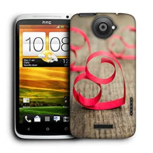 Snoogg Red Ribbon Hearts Printed Protective Phone Back Case Cover For HTC One X