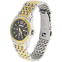 Ladies Black Round Dial Two Tone Watchband Quartz Watch Gift