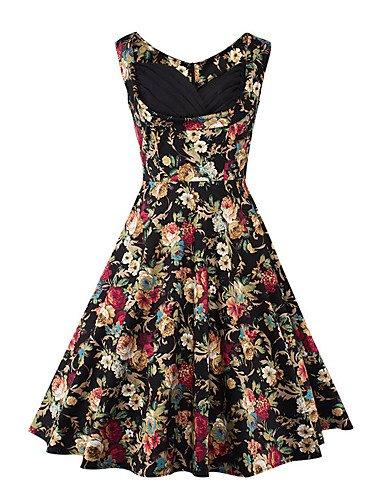 GAOLIM Frauen, Die Täglich Eine Linie Knielangen Kleid, Floral Square Neck Sleeveless Sommer, Schwarz, M (Square-neck Floral)