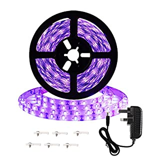 Onforu 16.4ft 5m LED UV Blacklight Strip Kit, 12V 24W Flexible Black Light Fixtures with GS Adapter, 300 UV LED Lamp Beads, Non-Waterproof for Indoor Fluorescent Dance Party, Body Paint