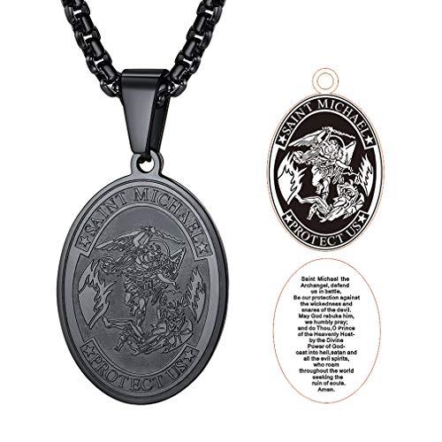 FaithHeart Saint Micheal Serie, Herrenhalskette mit heilige Anhänger, Kinderanhnger mit Kette 50-55cm Engel Gott schutze Dich...