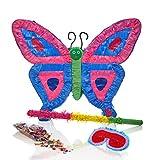 Lumaland Pinata Set zum Befüllen inkl. Schläger Maske und 50g Konfetti Lila Blauer Schmetterling ca. 40 x 10 x 50 cm