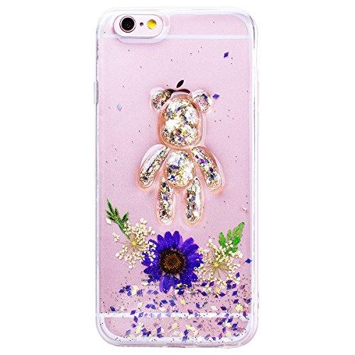 WE LOVE CASE iPhone 6 Plus / 6s Plus Hülle Blumen Echt und Bär Transparent Glitzern iPhone 6 Plus / 6s Plus Hülle Silikon Weich Lila Handyhülle Tasche für Mädchen Elegant Backcover , Soft TPU Flexibel purple