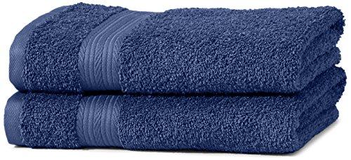 AmazonBasics Fade Resistant Towel Set, 2 Hand - Royal Blue