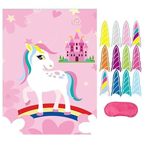 Howaf Juego para Fiestas Unicornio, Pin The Horn en Unicornio, los Colores del Arco Iris y Castillo, para Fiestas Infantiles, Idea de Regalo, piñata, Unicornio cumpleaños de niños, niñas