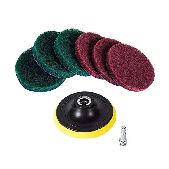 moo Cleaning Kit Scrubber 4 Inch Connecting Rod with Scouring Pad and Household Attachment Tool Electric Drill Power, free size