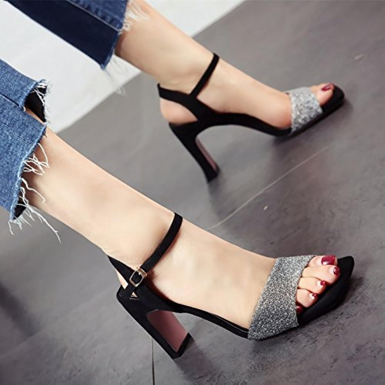 YMFIE moda de verano europeo cómodas señoras hollow Toe Toe sandalias tacones proms parte de banquetes,38 UE,plateado -