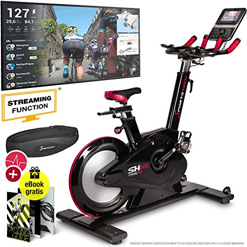 Sportstech Elite Indoor Cycle Bike - Deutsche Qualitätsmarke - Video Events & Multiplayer APP, computergesteuertes Magnetbremssystem,26KG Schwungrad, SX600 Speedbike Sportlenker, Ergometer inkl. eBook