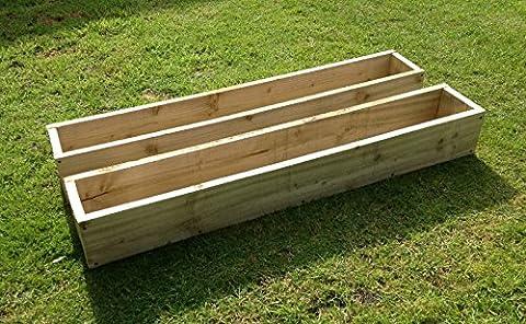 2x 90cm Long (0,9m) en bois Jardin/terrasse/jardinière Pots de fleurs: Entièrement assemblé–Il suffit d'ajouter les plantes: Fast & Livraison gratuite