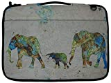 Meffort Inc 14-15.6 Inch Printed Canvas Laptop Sleeve Protective Case, Compatible with Ultrabook Notebook Asus Acer Lenovo Dell HP Toshiba Computers - Family of Elephants