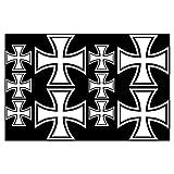 plot4u 10x Aufkleber Eisernes Kreuz im Set Bogen26x17cm weiß
