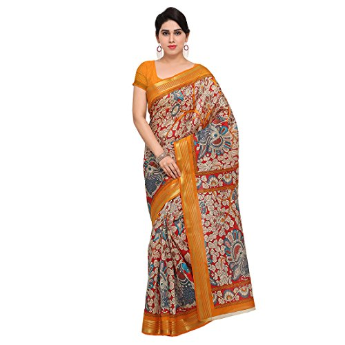 1709a4bc040f1 Craftsvilla Women s Casual Art Silk Floral Red   Yellow Saree With  Unstitched Blouse