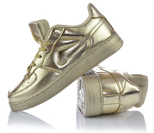 Mädchenschuhe Low Top Sneaker Freizeitschuhe Schnürer Gold Silber Metallic Gold